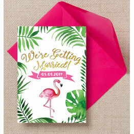 Flamingo Fiesta Tropical Wedding Invitation