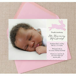 Pastel Bunny Birth Announcement Card
