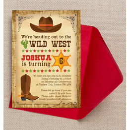 Cowboy Wild West Birthday Party Invitation