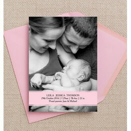 Pink Banner Personalised Birth Announcement Photo Card