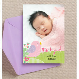 Baby Bird Personalised Thank You Photo Card - Pink
