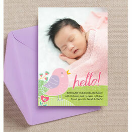 Baby Bird Personalised Birth Announcement Photo Card - Pink