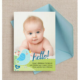 Baby Bird Personalised Birth Announcement Photo Card - Blue