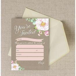 Pack of 10 Vintage Floral Wedding Invitations