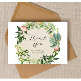 Flora Wreath Personalised Thank You Card