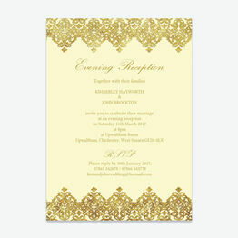 Elegant Vintage Cream & Gold Evening Reception Invitation