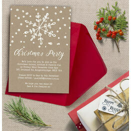 Rustic Kraft Snowflake Christmas Party Invitation