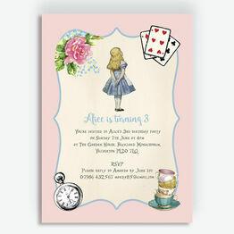 Pink & Blue Alice in Wonderland Birthday Party Invitation
