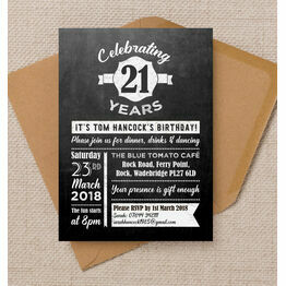 Chalkboard Typography 21st Birthday Party Invitation