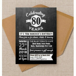 Chalkboard Typography 80th Birthday Party Invitation