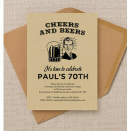 'Cheers & Beers' Retro 70th Birthday Party Invitation