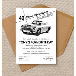 Stylish Classic Car 40th Birthday Party Invitation