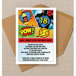 Comic Book Inspired Superhero 18th Birthday Party Invitation