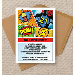 Comic Book Inspired Superhero 21st Birthday Party Invitation