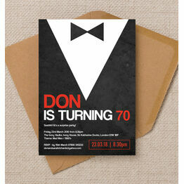 Black Tie Themed 70th Birthday Party Invitation