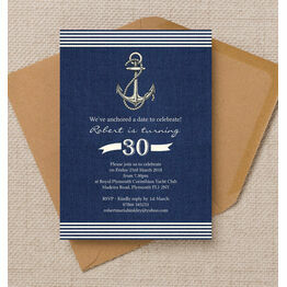 Nautical / Sailing Themed 30th Birthday Party Invitation