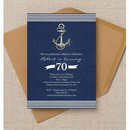 Nautical / Sailing Themed 70th Birthday Party Invitation
