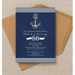 Nautical / Sailing Themed 80th Birthday Party Invitation