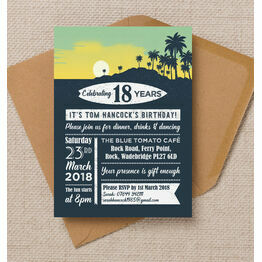 Surf Hawaiian Themed 18th Birthday Party Invitation