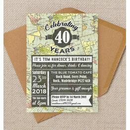 Travel / World Map Themed 40th Birthday Party Invitation