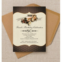 Vintage Car 80th Birthday Party Invitation