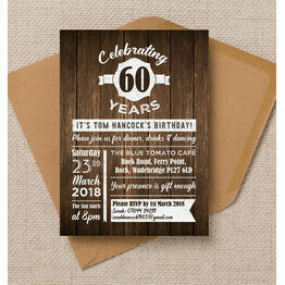 Rustic Wooden Background 60th Birthday Party Invitation