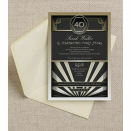 Black & Gold Art Deco 1920s 40th Birthday Party Invitation