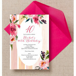 Painted Peonies Floral 40th Birthday Party Invitation