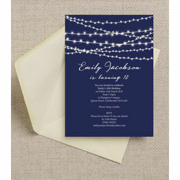 Navy Blue Fairy Lights 18th Birthday Party Invitation