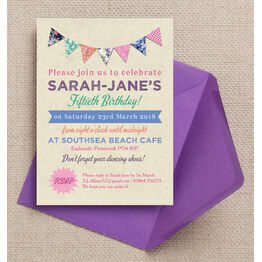 Rustic Colourful Bunting 50th Birthday Party Invitation