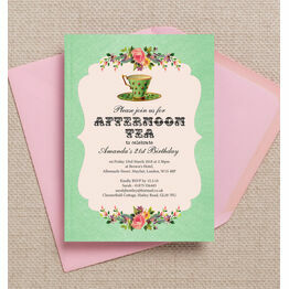 Vintage Afternoon Tea Themed 21st Birthday Party Invitation