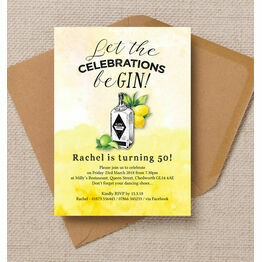 Gin & Tonic Themed 50th Birthday Party Invitation
