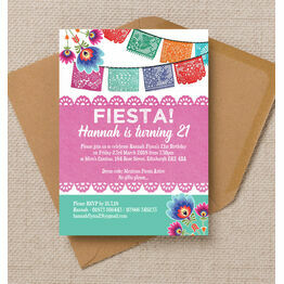 Mexican Fiesta Themed 21st Birthday Party Invitation