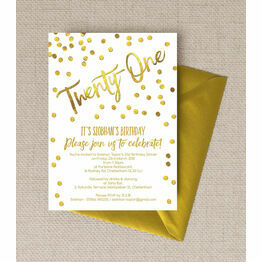 Gold Calligraphy & Confetti 21st Birthday Party Invitation