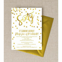 Gold Calligraphy & Confetti 60th Birthday Party Invitation