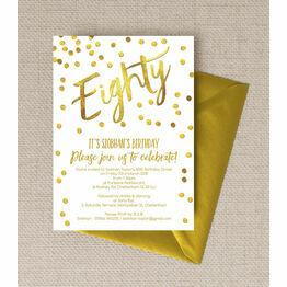 Gold Calligraphy Confetti 80th Birthday Party Invitation