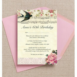 Vintage Scrapbook Style 60th Birthday Party Invitation