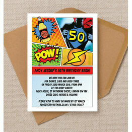 Comic Book Inspired Superhero 50th Birthday Party Invitation