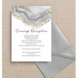 Agate Crystal Silver Grey Evening Reception Invitation