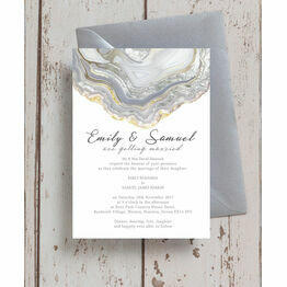Agate Crystal Silver Grey Wedding Invitation