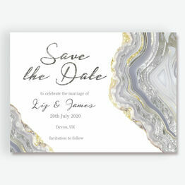 Agate Crystal Silver Grey Save the Date