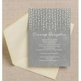 Dove Grey Fairy Lights Evening Reception Invitation