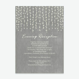 Dove Grey Fairy Lights Evening Reception Invitation