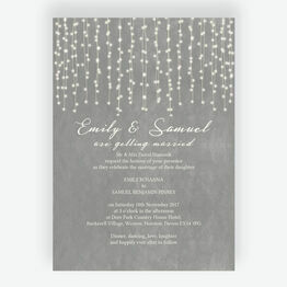 Dove Grey Fairy Lights Wedding Invitation