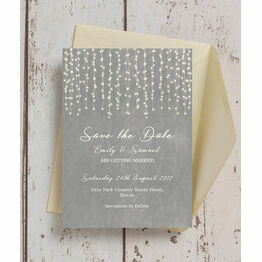 Dove Grey Fairy Lights Save the Date