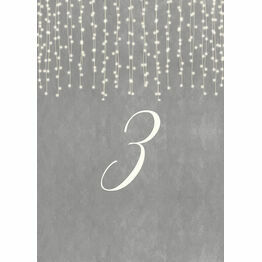 Dove Grey Fairy Lights Table Number