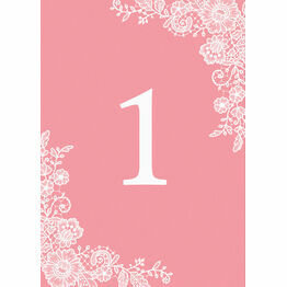 Floral Lace Wedding Table Number