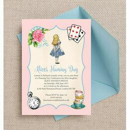 Alice in Wonderland Naming Day Ceremony Invitation