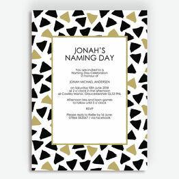 Black & Gold Naming Day Ceremony Invitation