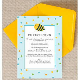 Bumble Bees Christening / Baptism Invitation - Blue